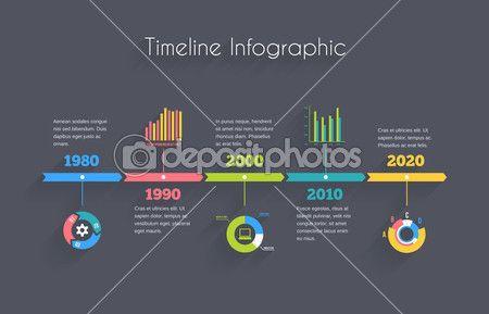Хронология инфографики шаблон — стоковая иллюстрация #45034255
