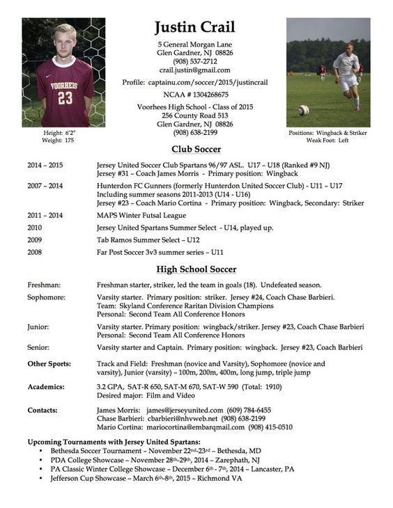 college soccer player resume soccer