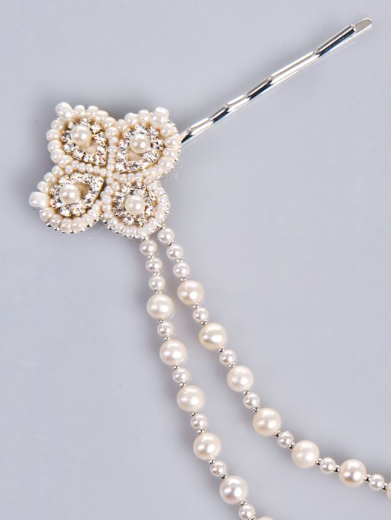 Dolce pearl and crystal hair jewelry in ivory by PetiteLumiereCo