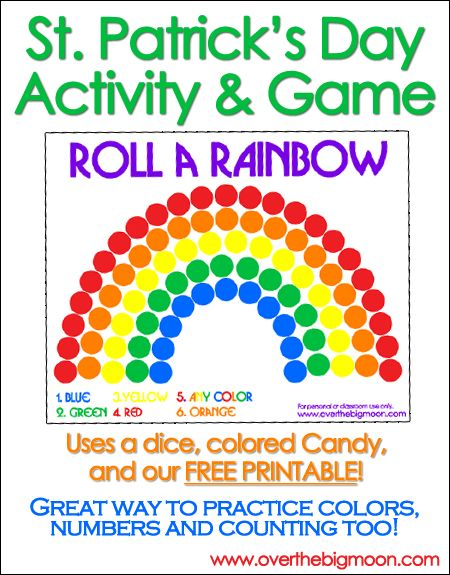 Roll a Rainbow - such a fun St. Patty's day game! From www.overthebigmoon.com!: