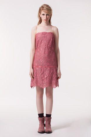 TWIN-SET Simona Barbieri :: HW13 :: Kleider :: Kleid Aus Spitze Mit Dünnen Trägern Aus Luftmaschen :: T2A3NP