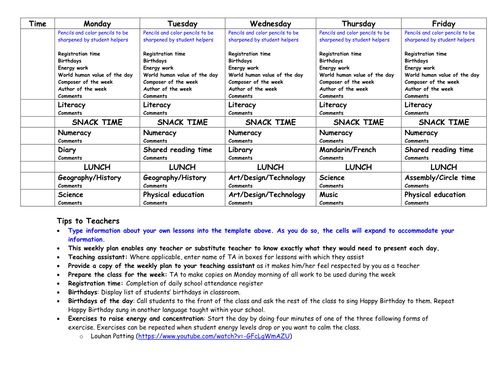 Weekly lesson plan template with tips Stuff to Buy Pinterest - physical education lesson plan template