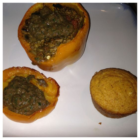 Mom came for dinner: stuffed orange pepper filled with ground turkey ...