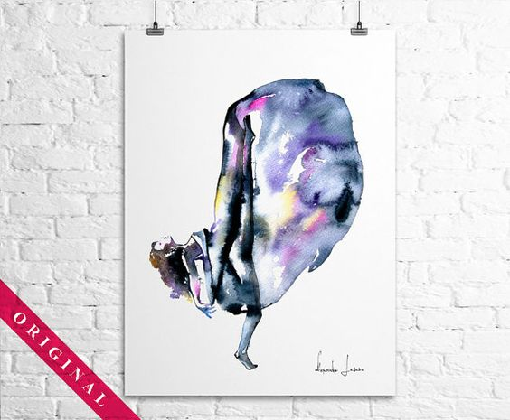 Woman Dancer - Original Watercolor Painting - Dance Wall Art