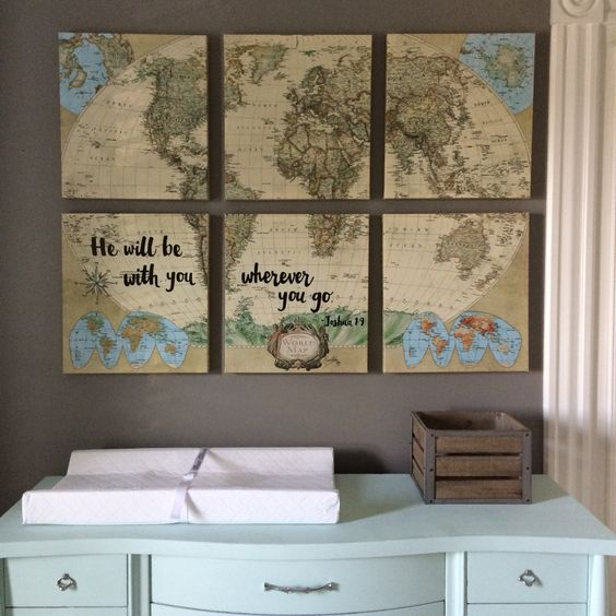 Travel Nursery. The map is World Market. The word art done by ohhicreative.