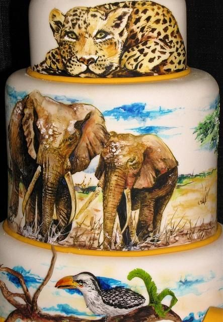 Safari Engagement Extravaganza the detail on this cake is so beautiful! i love it!
