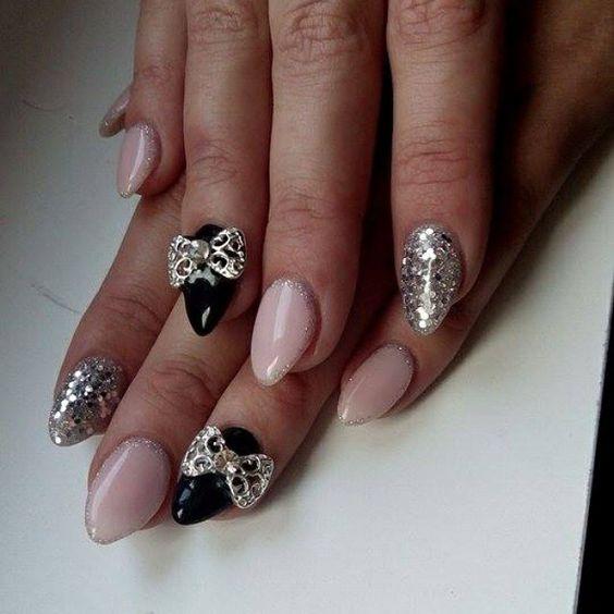 Nails#design#new#silver#pink#modern#black#hobby#nail#2015