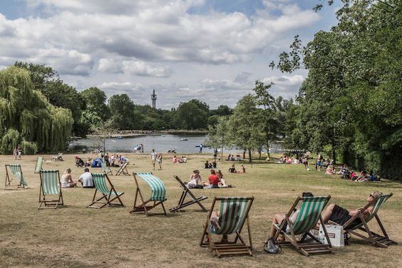 View over the boating lake towards Regent's Park Mosque. Photo: Shifiku