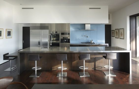 Blue glass backsplash kitchen modern with glass backsplash wood floor