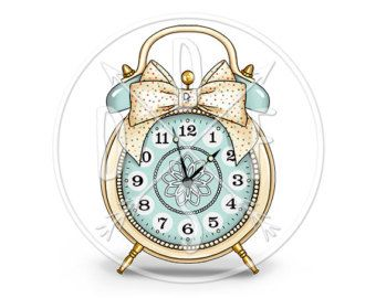 A0069_pink Vintage Alarm Clock Bell Polka Dot Beige by DidiFox: