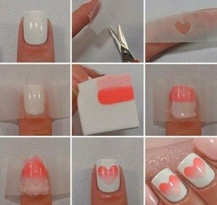 How To Do Ombre Nail Art At Home Step By Step Diy Ombre Nails With A Cool Heart Shaped Element I