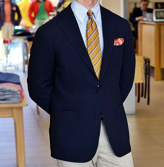 New Ring Jacket sport coat in navy wool hopsack. khakisofcarmel