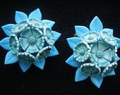 Signed WEST GERMANY Mid Century Turquoise  Blue Flower Clip On Earrings Designer Signed 1950s Jewelry
