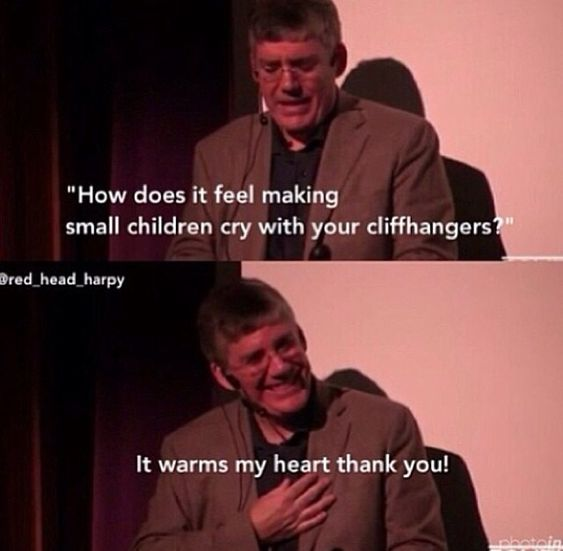 Rick Riordan is strangely how I'll probably react once I become a published author. The thought of making small children cry is just...wow. :D