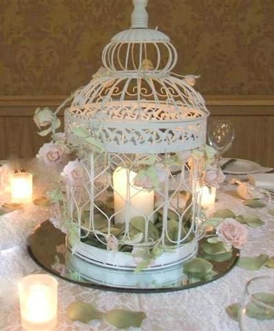 I like the idea of candles inside the birdcages for the wedding breakfast as it will be in the evening.