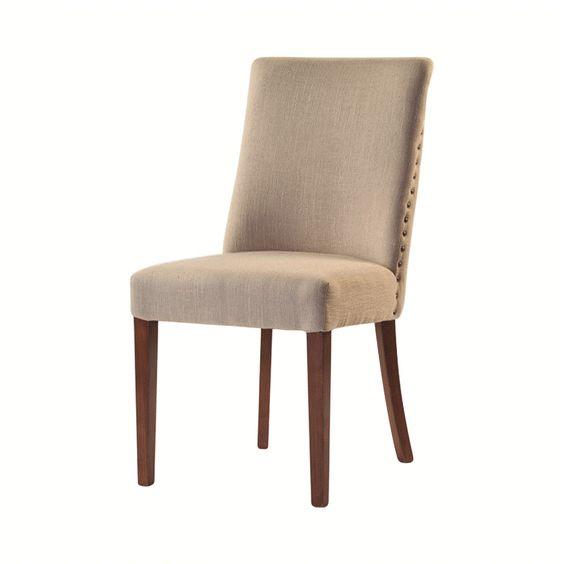 Bruce set de 2 sillas de comedor con estoperoles blanco for Sillas con apoyabrazos para comedor