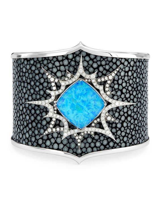 Murder She Wrote Opalescent Quartz Stingray Cuff