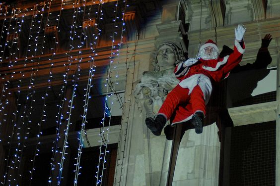 Pere Noel rappels from Hotel de Ville in Valenciennes, Nord-Pas-de-Calais. My adopted corner of Chez les Chtis, where the crazy is normal day to day stuff - a mad Ulsterman fits in perfectly, well other than me accent.