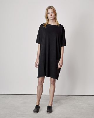 Revisited curates, revisits and creates collections of minimal, effortless,  unique pieces. This easy tee shirt dress will be a go-to piece all Spring  and Summer long. Throw on a sweater during cooler weather and go! One  size. 100% cotton. Made in New York City.