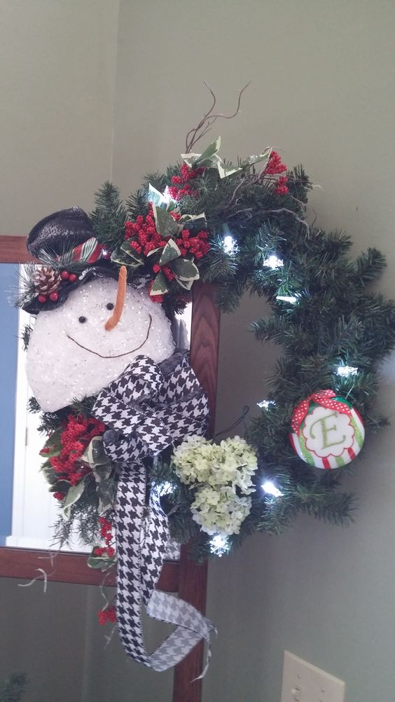 Snowman wreath I made for my work buddy.