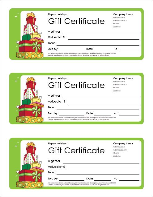 Download The Christmas Gift Certificate From Vertex42.Com It