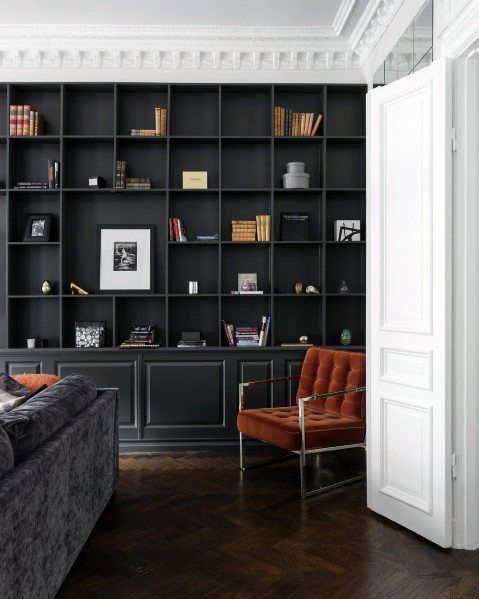 本棚 壁一面 ポイント カラー インテリア イメージ グレー