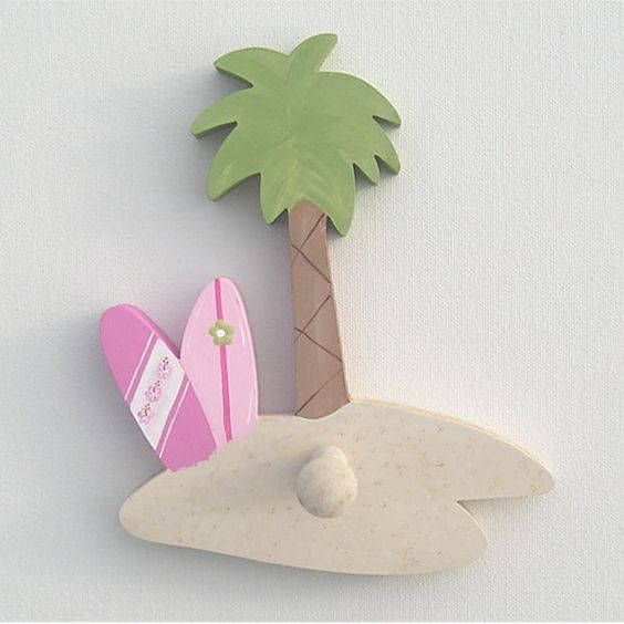 Surf Palm Tree & Surf Boards Wall Peg or Decor Piece Without Peg