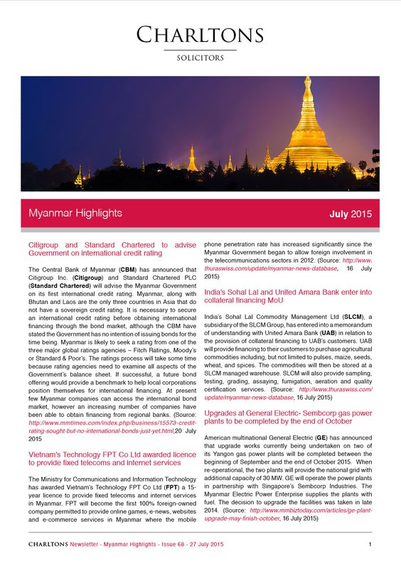 Myanmar Highlights - 28 July 2015 - Citigroup and Standard Chartered to advise Government on international credit rating
