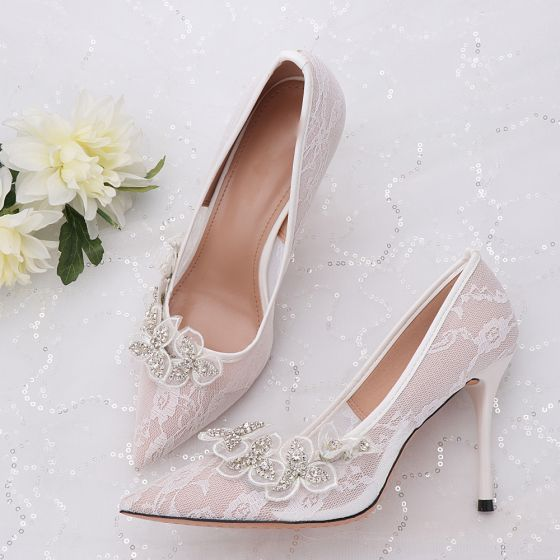 Elegancka Kosc Sloniowa Buty Slubne 2020 Tiulowe Rhinestone Z Koronki Kwiat 9 Cm Szpilki Szpiczaste Slub Czolenka Ivory Wedding Shoes Unique Wedding Shoes Wedding Shoes