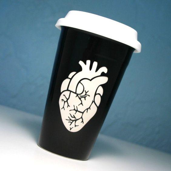 Anatomical Heart Black Ceramic Travel Mug - insulated coffee cup w/ BPA-free lid. $20.00, via Etsy.