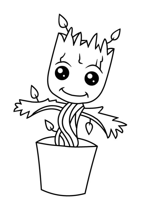 Baby Groot Coloring Page Free Baby Groot Drawing Superhero Coloring Easy Coloring Pages