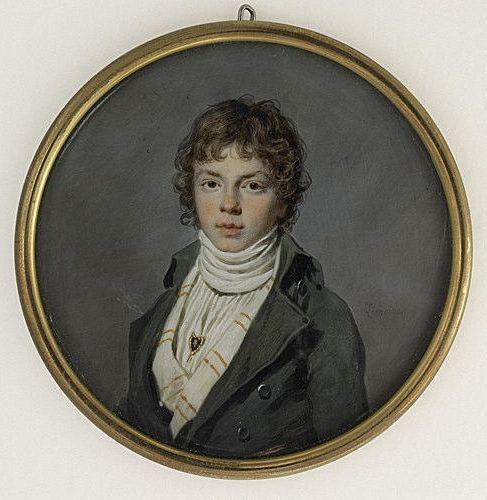 Miniature portrait of a boy by Jacques Lemoine (1790)