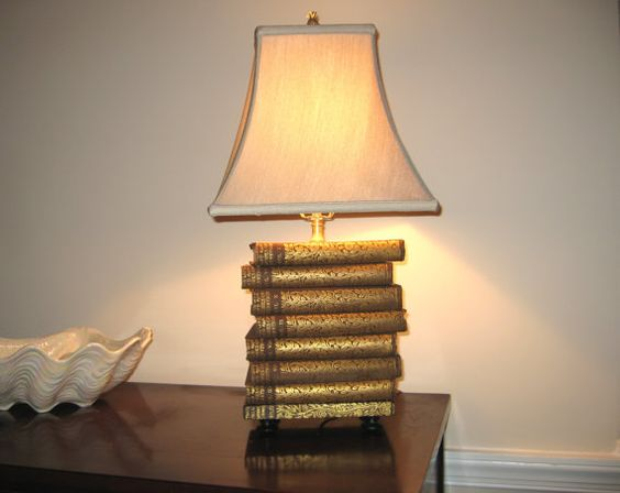 Book Lamp Antique Upcycled Books Silk Lamp Shade by FirstandFig