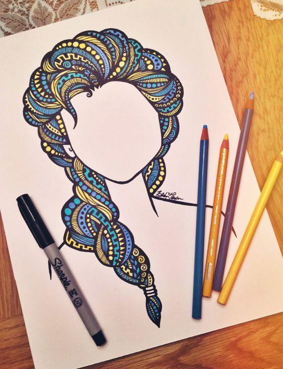 Hand drawn design done with multi-colored prisma pencils and sharpie on Bristol board.