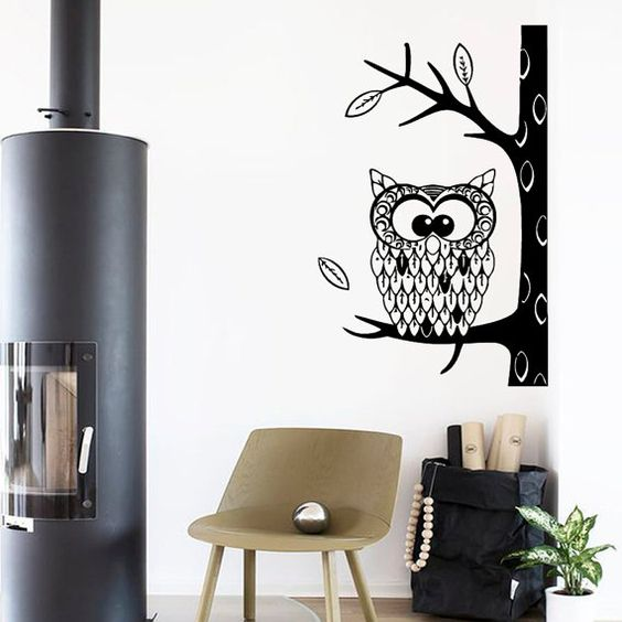 Wall Decals Cute Owl Bird Autumn Tree Leaves by DecalMyHappyShop