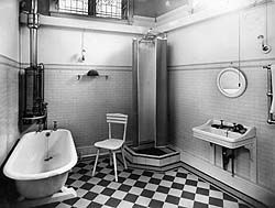A black and white photograph of a 1930s bathroom diy for 1930 bathroom design ideas