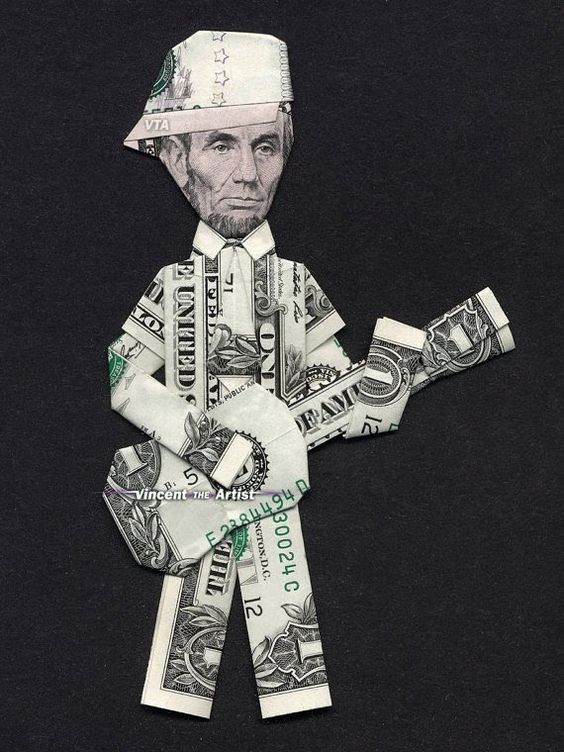 money origami abe lincoln playing guitar money dollar