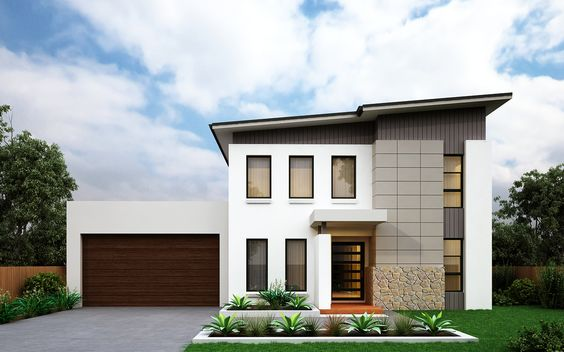 Double Storey House Design - The 'Adriana 31' with Modern Facade. The Adriana is 14.270m wide x 18.150m long and includes 4 bedrooms plus a study, 3 linen closets, Living Room, Rumpus Room and Family Room. #floorplan #housedesign #doublestorey #BetterbuiltHomes