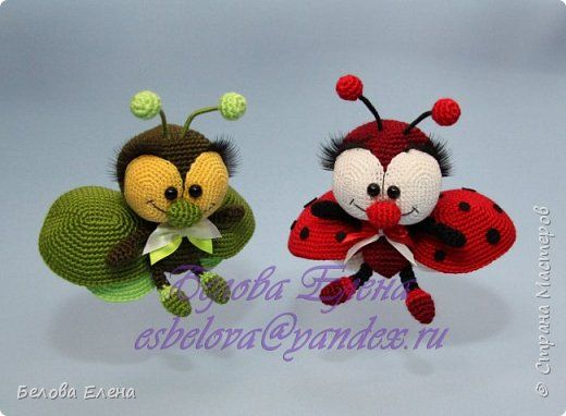 Amigurumi bugs. (Free pattern needs translating ...