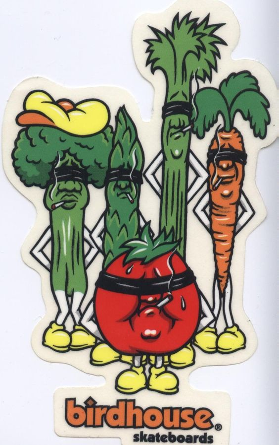 Birdhouse Jeremy Klein Vegetables Skateboard Sticker NOS early 90's.  Click on picture to purchase.