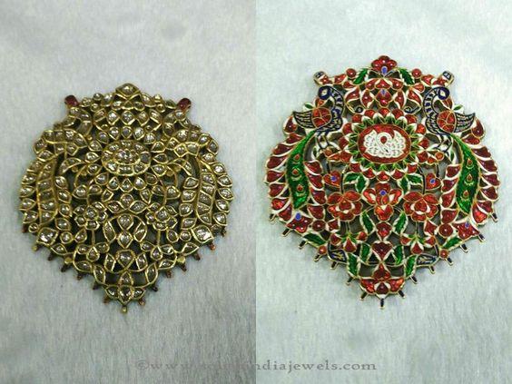 Gold Pendant Collections, Antique Gold Pendant Designs, Antique Kundan Pendant Designs.
