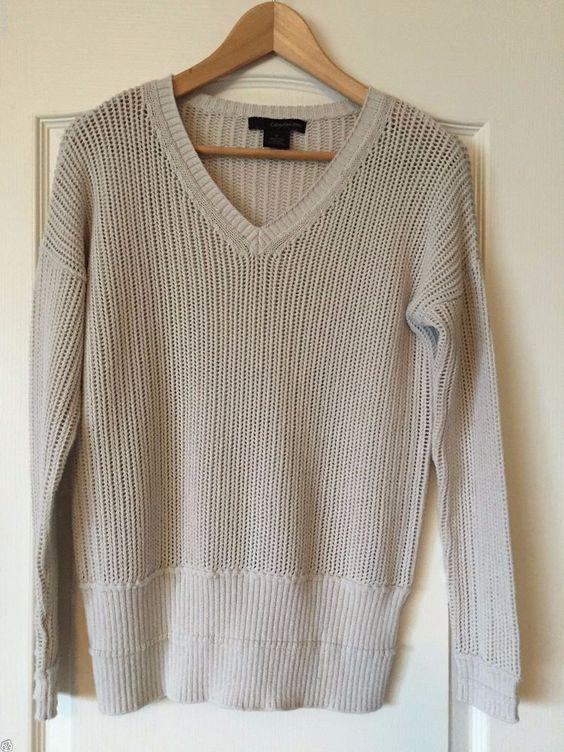 Calvin Klein Beige Light Weight Cotton Blend V-Neck Top Pullover Sweater Size M #CalvinKlein #VNeck