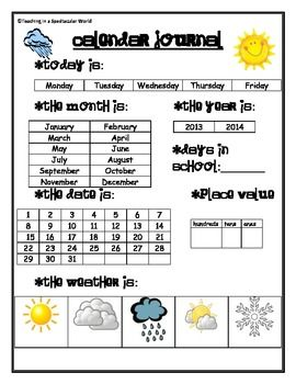 """Calendar Journal worksheet. Could be used as individual seat work to stimulate discussion at morning meeting or social skills group (""""small talk"""" skills)"""