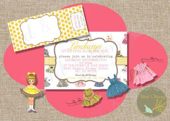 Vintage Paper Doll Invitation Girl Baby Shower Theme: Little Girl Birthday Idea by theBirdandtheBerry