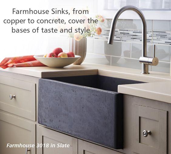 Slate Farmhouse Sink : Native Trails Farmhouse concrete sink in Slate Kitchen & Bar Sinks ...