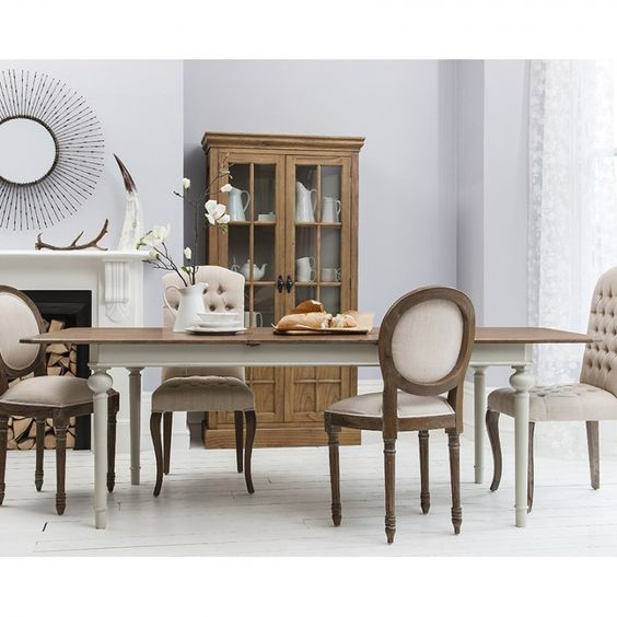 Extendable Dining Table with Natural Top - Pale Grey Base – Allissias Attic & Vintage French Style