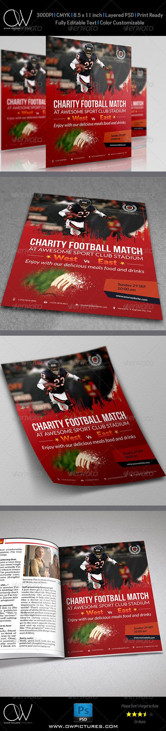 football flyer template shops football and fonts