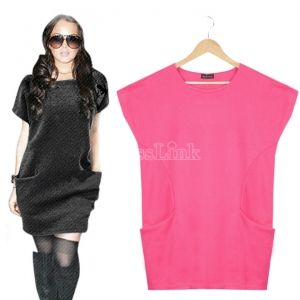 $ 10.75 Brief Short Sleeve Spring Autumn Loose One-piece Dress