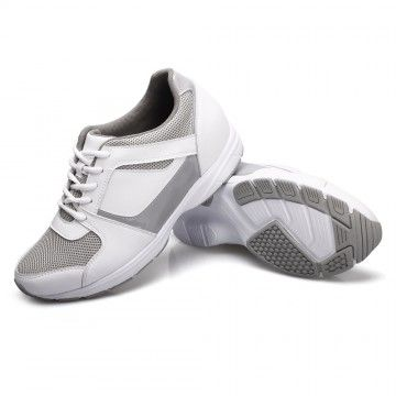 White Suede Leather 6.5cm Sport increasing shoes MODEL: LX63F201  Increased Height:6.5cm (2.56 inch)