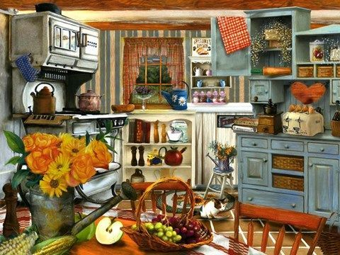 Grandma S Kitchen By Tom Wood Mosaic Pictures Larger Piece Jigsaw Puzzles Large Puzzle Pieces